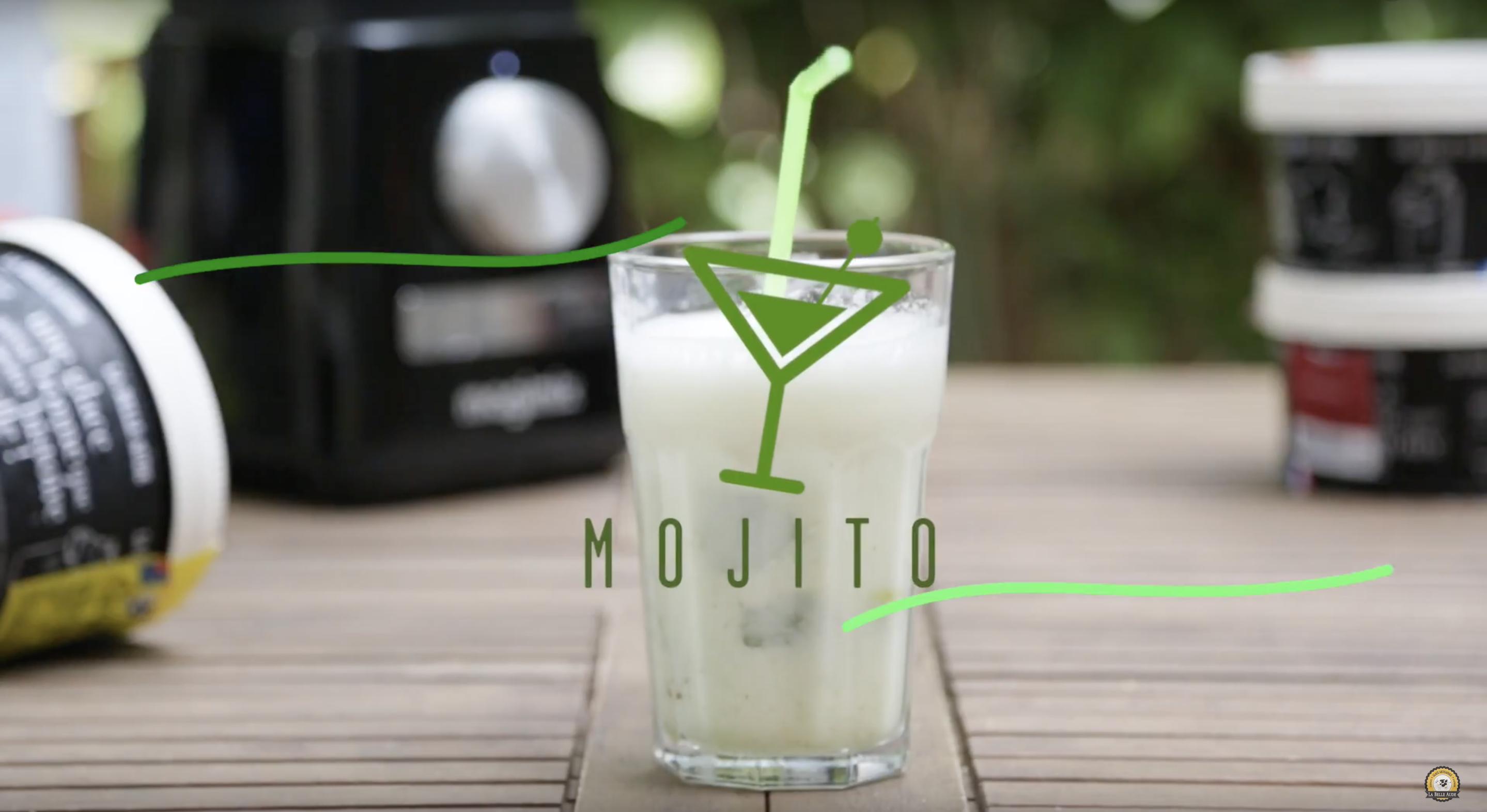 Cocktail Granité Virgin Mojito sans alcool avec les Glaces de la Belle Aude