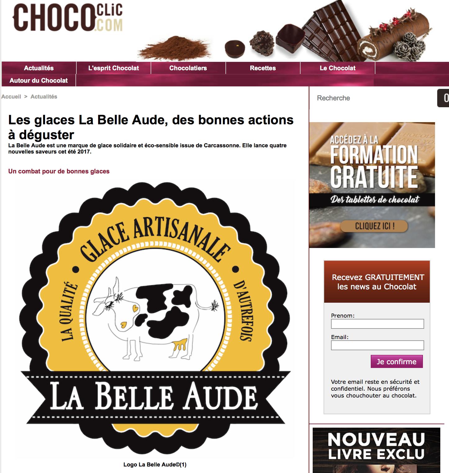 Chococlic.com parle de La Belle Aude