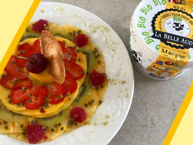 Recette carpaccio de fruits de saison, infusion passion-combawa, et sorbet mangue