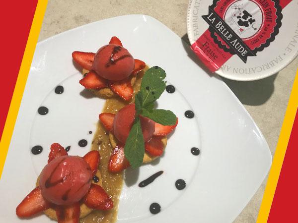 Recette sorbet fraise à la rhubarbe et sablés