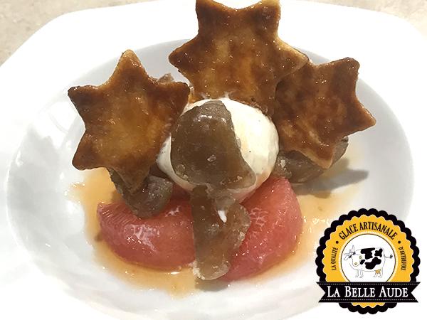 Alliance marron glacé-pamplemousse rose, crème glacée vanille et étoile croustillante